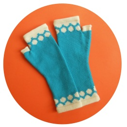 Gloves Spots Turquoise White